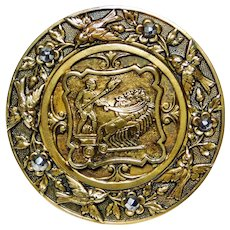 Button ~ Large Brass Horse & CHARIOT Scene with Flying Sparrows & Steel Border