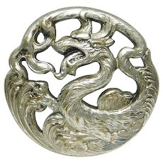 Button Silvered Brass Chinese Dragon in Waves