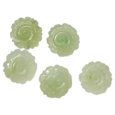 BUTTONS Antique Set of 5 Matching Carved JADE Flowers