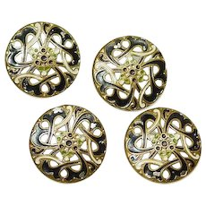 BUTTONS 4 Matching Hand Painted Pierced Brass with DECO Design