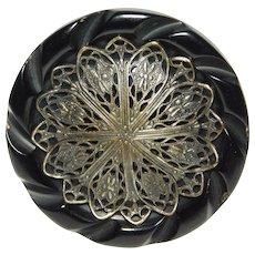 LARGE Vintage  CARVED Black Bakelite Button Silver Metal FILIGREE