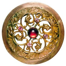 Stunning Large  Brass GAY 90's Button Dragon Head BORDER with Red & PINK Jewels