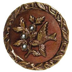 X-Large VINTAGE  Metal Picture Button Bird carrying a BRANCH w/Cut Steel Berries