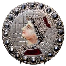 BUTTON~ 19th C.  Large Champleve Enamel RENAISSANCE Woman w Steel Border