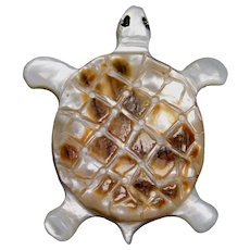 BUTTON~Large Carved Pearl Shell TURTLE