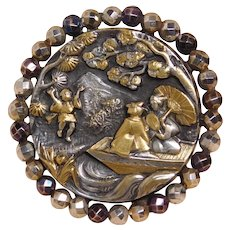 Button~Very Large Ladies in a Boat ~Silvered Brass with Multi-Color Steels