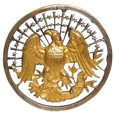 BUTTON~ Large Rare Brass INAUGURAL Type EAGLE with Stars & Ribbon