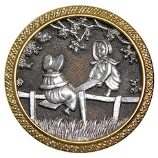 BUTTON~ Large Kate Greenaway SEE SAW Jack in Pewter & Brass