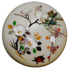 BUTTON~19th C. Large Pearl Inlay SHIBAYAMA Songbird in Cherry Blossoms