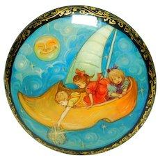 Large Russian Paper Mache Button Hand Painted Wynken Blynken & Nod FAIRY Tale