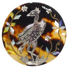 BUTTON Large Silver Inlay Crane Bird in Marble Horn w Pearl Shell