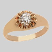 Old Euro Diamond Buttercup set Ring