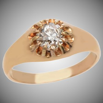 Old Euro Diamond Butter Cup set Ring