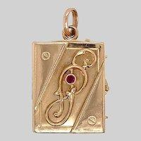 Antique 14 KT Rose Gold Book Locket