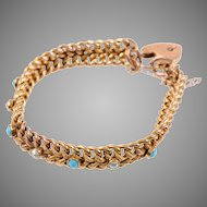 Edwardian Turquoise and Pearl and Gold Heart Lock Bracelet