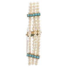 15 KT. Yellow Gold Antique Cultured Pearl and Cabochon Turquoise Bracelet