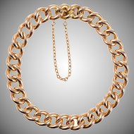 Antique English 15 KT. Yellow Gold Curb Link Chain Bracelet