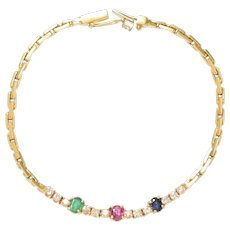 Emerald Ruby Sapphire and Diamond Bracelet set in 18 KT. Gold