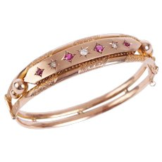 Antique 9 KT Rose Gold Ruby and Diamond Bangle Bracelet
