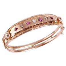 Antique 9 KT Rose Gold Ruby and Diamond Bangle Bracelet