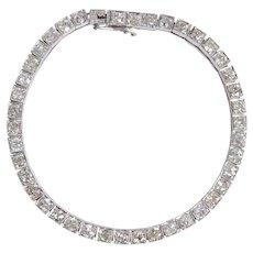 Elegant Art Deco Platinum and Diamond Line Bracelet