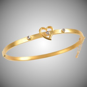 Antique 9 KT. Matte Gold English Heart Bangle Bracelet with Rose cut Diamonds