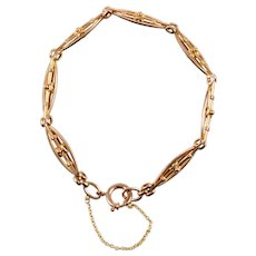 Antique English Stylized Flexible Link Bracelet 9 KT. Rose Gold