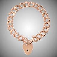 Polished Antique 9 KT Rose Gold Albert Link Bracelet