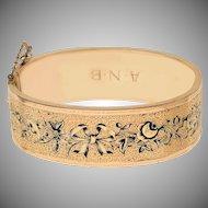Victorian Enamel and 12 KT Gold Bangle Bracelet(RESERVED)