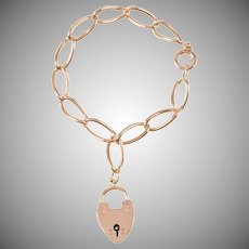 Antique 9 KT. Rose Gold Open Link Bracelet with Heart Padlock