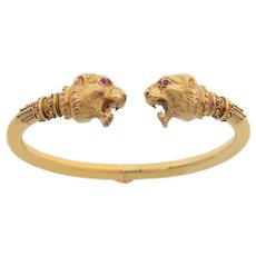 Antique Double Headed Lion 18 KT Hinged Bangle Bracelet