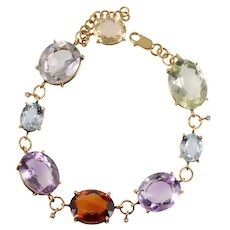 18 KT Multi Gem Stone & Diamond Harlequin Bracelet