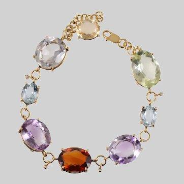 18 KT Multi Gem Stone & Diamond Harlequin Bracelet