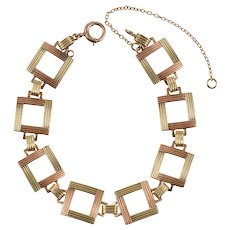 1940s Rose and Yellow 14 KT Gold Open Squares Bracelet