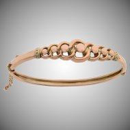Open Link and Ball Design 9 KT Rose Gold Bangle