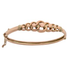 Open Link and Ball Design 9 KT Rose Gold Bangle