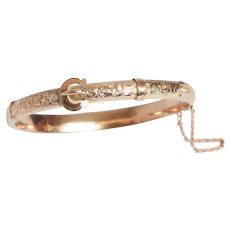 Antique Engraved Buckle Bangle Bracelet