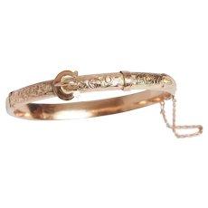 Antique Engraved Buckle Bangle Bracelet