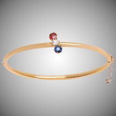 Ruby Diamond and Sapphire Oval Bangle Bracelet