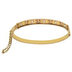 Victorian Pearl and Diamond 15 KT Gold Bangle Bracelet