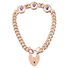 9 KT Rose Gold Amethyst Link Bracelet with Heart Closure