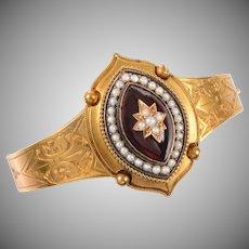 Victorian 15 KT Gold Garnet and Pearl Bracelet