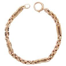 English Fancy Link 9 KT Rose Gold Bracelet