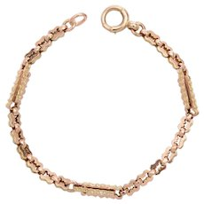 Fancy Engraved Link 9 KT Rose Gold Bracelet