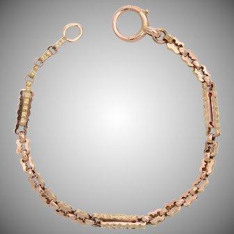 Fancy Engraved Link 9 KT Rose Gold Bracelet