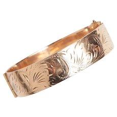 Vintage Engraved 9KT Rose Gold Bangle Bracelet