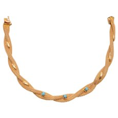 Elegant 18 KT Gold Braided Gold and Turquoise Bracelet