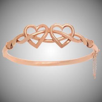 Antique Rose Gold Double Hearts Bangle Bracelet