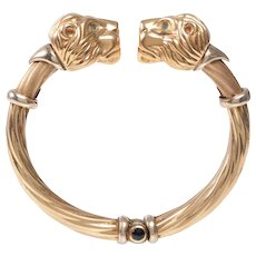Vintage 14 KT Double Headed Lion Bangle with Emerald and Lapis Detail