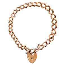 Rose Gold Polished Link Bracelet with Heart Padlock Closure